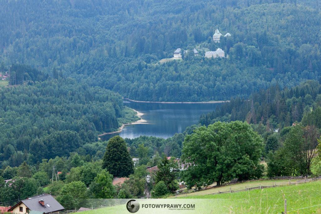 Widok z Cieńkowa na jezioro w Wiśle Czarne